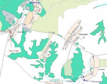 Карта схема проезда от Щербинок до источника.